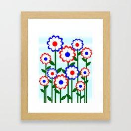 Retro Summer Flowers Framed Art Print