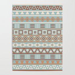 Aztec Influence Pattern Blue Cream Terracottas Poster