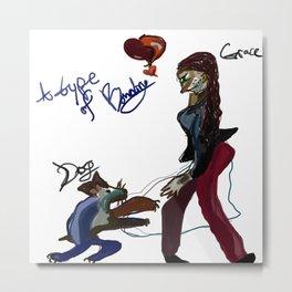 girl with mouse dog Metal Print