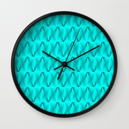 Trickling iridescent light blue rhombs from black triangles with volume. Wall Clock