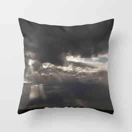 Stormy Sky with Sunbeams and Rain Throw Pillow