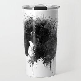 Black and White Horse Head Watercolor Silhouette Travel Mug