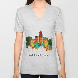 Allentown Pennsylvania Skyline Unisex V-Neck