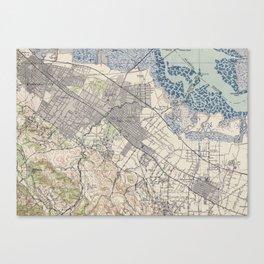 Old Map of Palo Alto & Silicon Valley CA (1943) Canvas Print