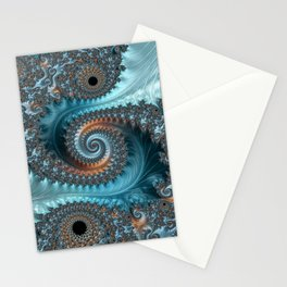 Feathery Flow - Teal and Taupe Fractal Art Stationery Cards