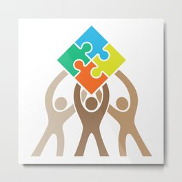 Teamwork and Unity Jigsaw Puzzle Logo Metal Print