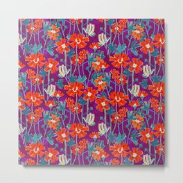 Fiery red flowers on violet background Metal Print