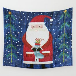 Santa with Stocking Wall Tapestry