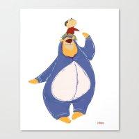 onesie Canvas Prints featuring Bear in Onesie by Ivy Niu