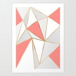 Coral, Grey & Gold Geo Kunstdrucke