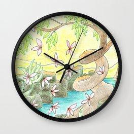 Landscape in Yellow Wall Clock