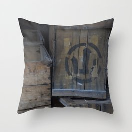 Vintage Wooden Wabi-Sabi Japanese Shipping Crates Throw Pillow