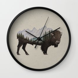 The Land of the Bison Wall Clock