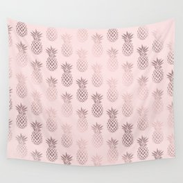 Girly rose gold & blush pink pineapple pattern Wall Tapestry