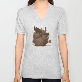 Grumpy coffee owl Unisex V-Neck
