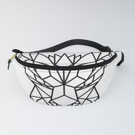 Dragon Head Front Low Poly Black and White Fanny Pack