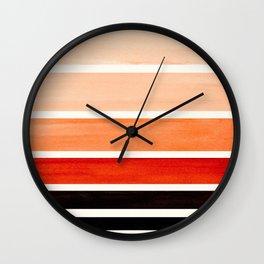 Burnt Sienna Mid Century Modern Minimalist Circle Round Photo Staggered Sunset Geometric Stripe Desi Wall Clock