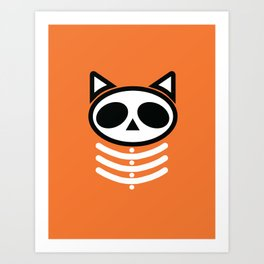 Spooky Skeleton Cat  Art Print