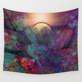 Blue and Red Floral Sunset Wall Tapestry