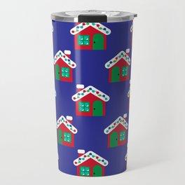Christmas Gingerbread House Pattern Travel Mug