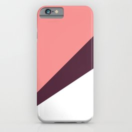 Elegant coral & burgundy geometric triangles iPhone Case