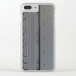 Brushed metal plate with rivets and circular grille Clear iPhone Case