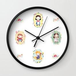 Watercolor Storybook Girls Wall Clock