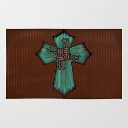 Rustic Turquoise Cross Rug