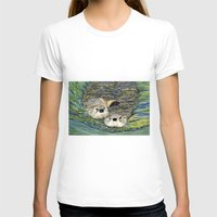 otters T-shirts featuring Pair of Otters by Sandra Dean Wilson