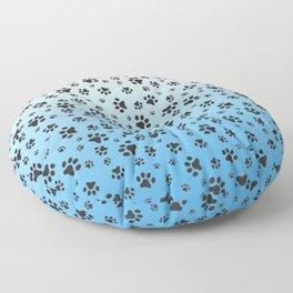 Paw Prints Light Blue White Gradient Floor Pillow