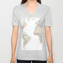 Clear World Map Unisex V-Neck