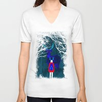 backpack V-neck T-shirts featuring Repatriation by Rendra Sy