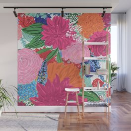 Pretty Colorful Big Flowers Hand Paint Design Wall Mural