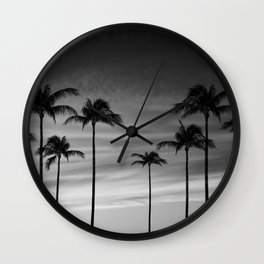 Black & White Palm Trees Photography | Landscape | Sunset |  Clouds | Minimalism Wall Clock