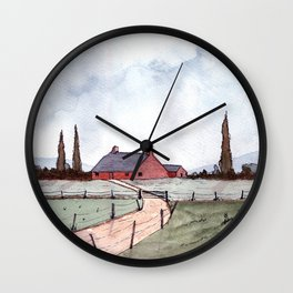 Country Landscape Wall Clock