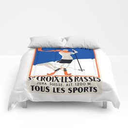 1922 Sainte-Croix Switzerland Ski Travel Poster Comforters