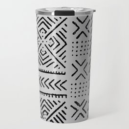 Line Mud Cloth // Light Grey Travel Mug
