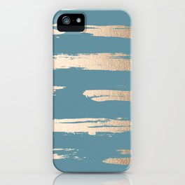Abstract Painted Stripes Gold Tropical Ocean Blue iPhone Case