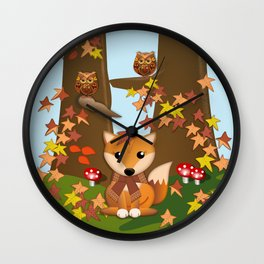 Fall fox, owls and leaves, vector illustration Wall Clock