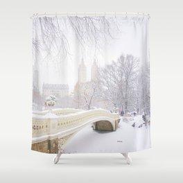 Central Park New York City Snow Day Shower Curtain