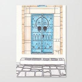 Blue Door with Black Decorations Canvas Print