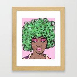 Green Kawaii Black Comic Girl Framed Art Print