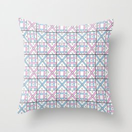 symetric tartan and gingham 26 -vichy, gingham,strip,square,geometric, sober,tartan Throw Pillow