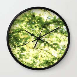 Bright Day-green leaves Wall Clock