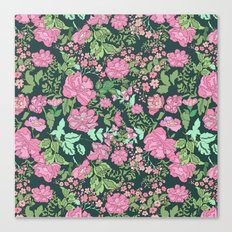 Pink repeating flower pattern Canvas Print