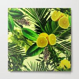 Tropical fresh wild green lemon pattern Metal Print