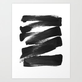 Black Brushstrokes Abstract Ink Painting Art Print