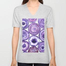 Purple agate pattern watercolor Unisex V-Neck