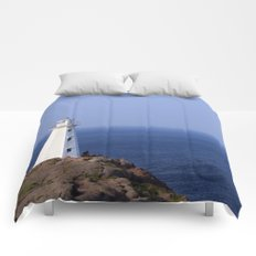 Blue Sky Lighthouse Comforters