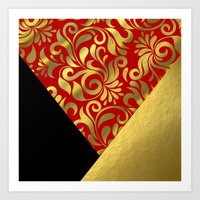 Gold Red Swirls with Triangle Flap Accents Art Print